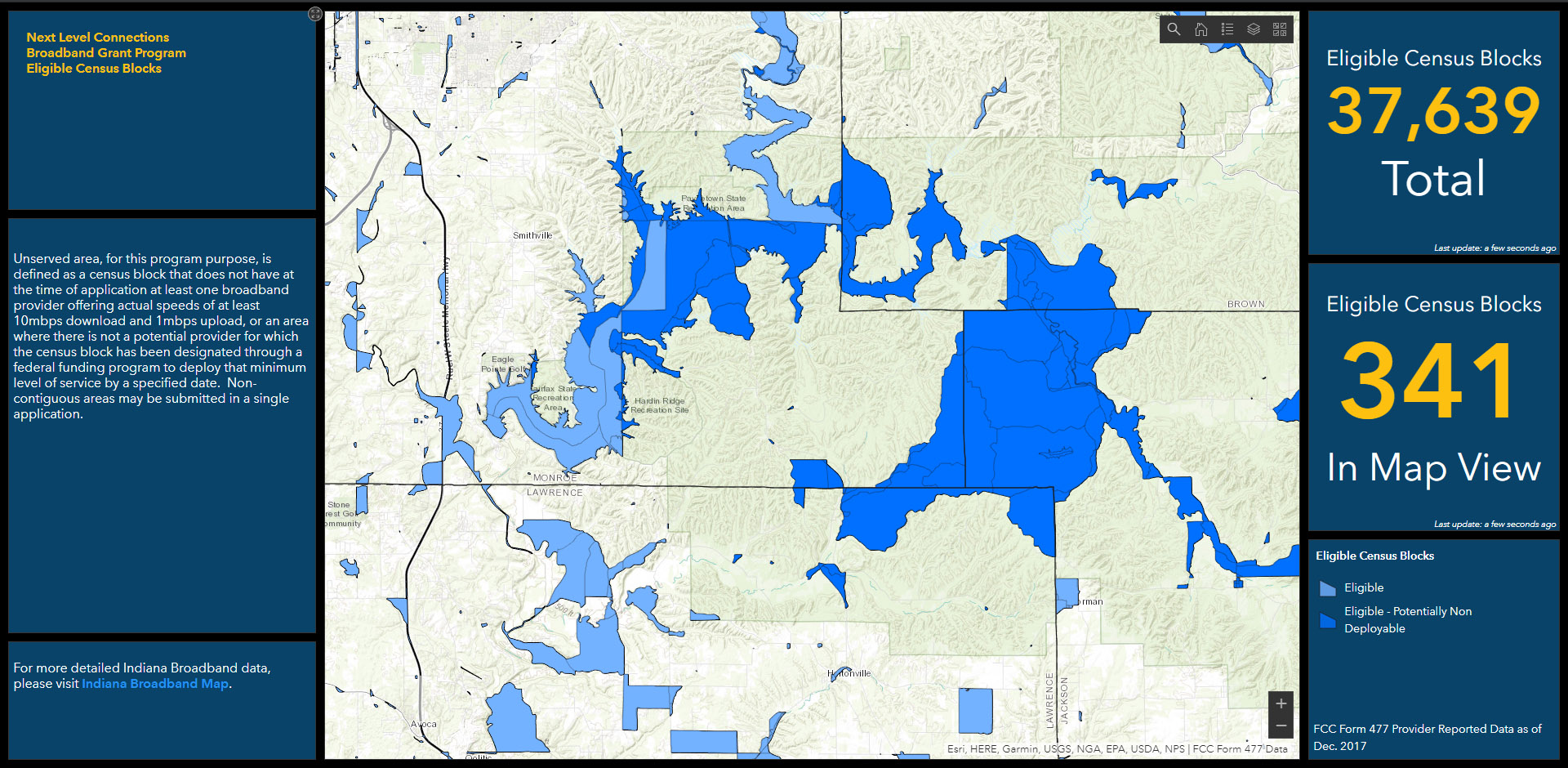 ArcGIS Online Dashboard: Broadband Application Approved